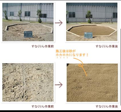 施工後は砂がホカホカになります。